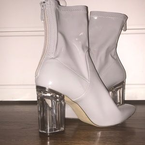 Patent Leather Gray Ankle Booties Lucite Heels